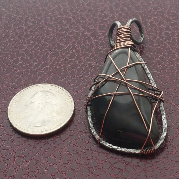Antiqued Copper Wrapped Annealed Steel Pendant