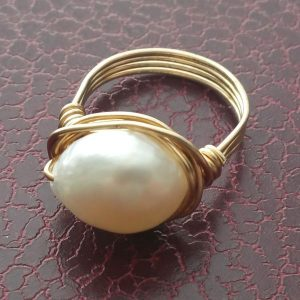 Fresh Water Pearl and Brass Ring